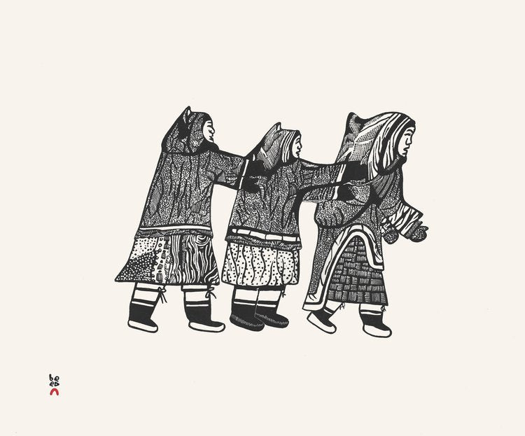 Three Women Playing - Northern Expressions | Pitaloosie Saila - Print | | Canadian Indigenous & Inuit Art