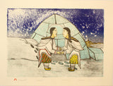 KATAJJAQTUT (THROAT SINGING) - Northern Expressions | Napachie Pootoogook - Print | | Canadian Indigenous & Inuit Art