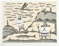 WOMEN AT THE FISH LAKE - Northern Expressions | Pudlo Pudlat - Print | | Canadian Indigenous & Inuit Art