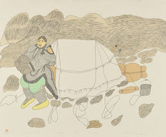 PUTTING UP THE TENT - Northern Expressions | Mayoreak Ashoona - Print | | Canadian Indigenous & Inuit Art