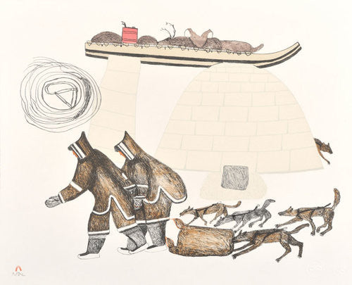 FOOD FOR THE DOGS - Northern Expressions | Oshoochiak Pudlat - Print | | Canadian Indigenous & Inuit Art