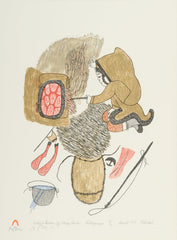 COOKING CARIBOU BY MOSS FIRE - Northern Expressions | Pitseolak Ashoona - Print | | Canadian Indigenous & Inuit Art