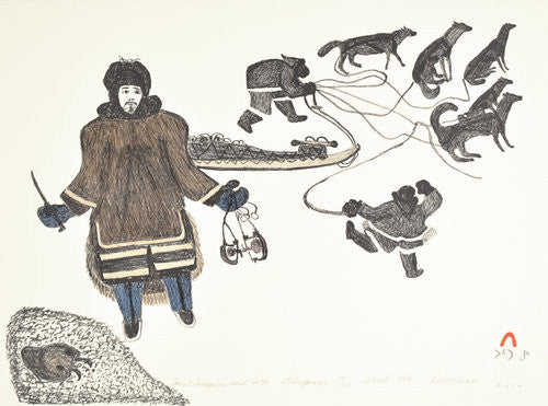 INUIT TRAPPERS AND DOGS - Northern Expressions | Oshoochiak Pudla - Print | | Canadian Indigenous & Inuit Art
