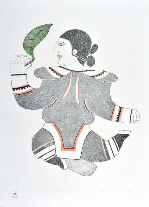 DANCER WITH LEAF - Northern Expressions | Pitaloosie Saila - Print | | Canadian Indigenous & Inuit Art