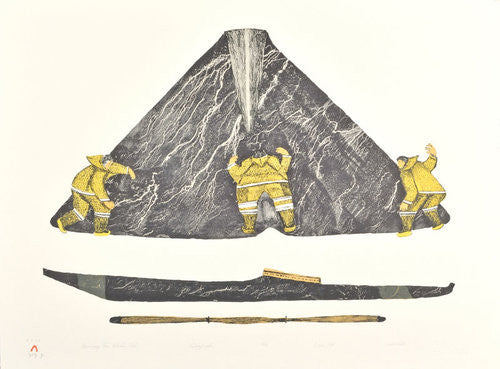 MEASURING THE WHALES TAIL - Northern Expressions | Oshoochiak Pudlat - Print | | Canadian Indigenous & Inuit Art