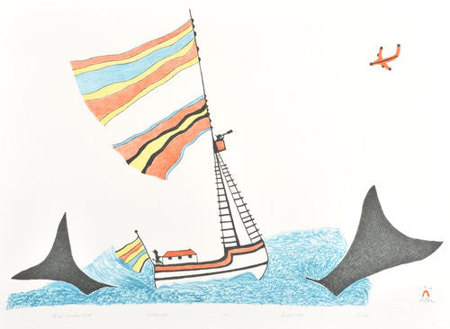 WHALE HUNTERS' BOAT - Northern Expressions | Pudlo Pudlat - Print | | Canadian Indigenous & Inuit Art