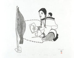 SHARPENING THE ULU - Northern Expressions | Mayoreak Ashoona - Print | | Canadian Indigenous & Inuit Art