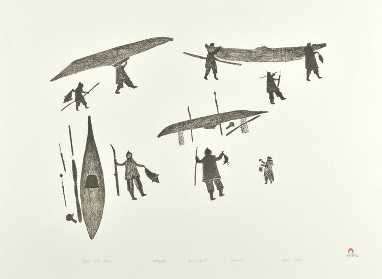 KAYAK HUNTERS RETURN - Northern Expressions | Tikitu Qinnuayuak - Print | | Canadian Indigenous & Inuit Art