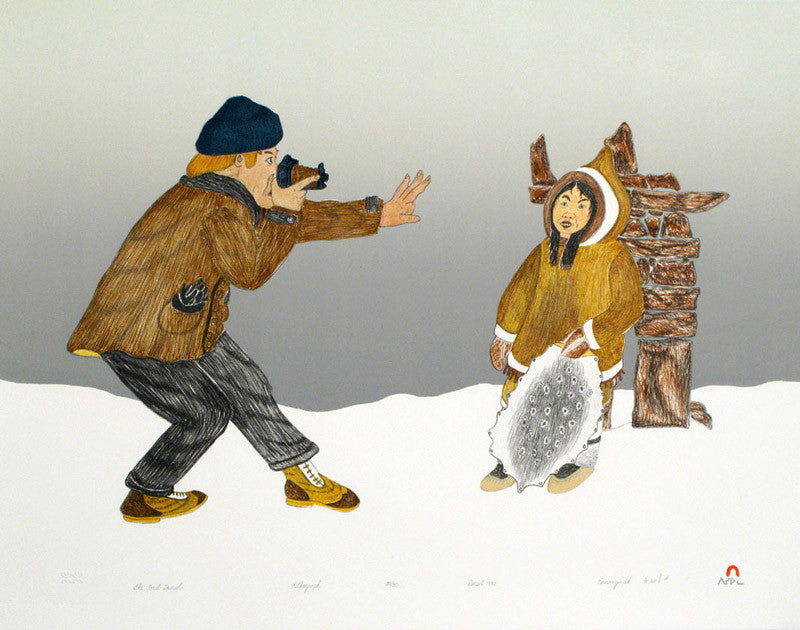 The First Tourist by Kananginak Pootoogook. Cape Dorset Inuit Print Collection