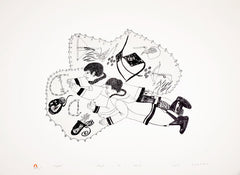 INUGAKTUUK (BONE GAME) - Northern Expressions | Mayoreak Ashoona - Print | | Canadian Indigenous & Inuit Art