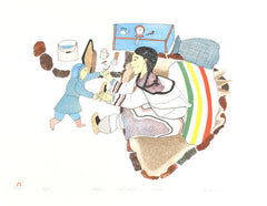 AQAQTUQ (SINGING LOVE SONG) - Northern Expressions | Napachie Pootoogook - Print | | Canadian Indigenous & Inuit Art