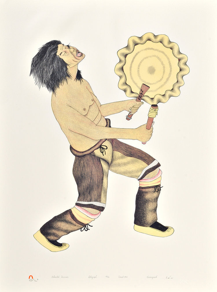 EXHAUSTED DRUMMER - Northern Expressions | Kananginak Pootoogook - Print | | Canadian Indigenous & Inuit Art