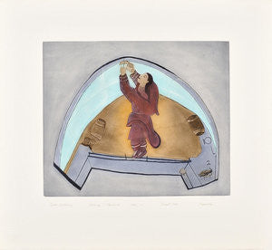 IGLOO INTERIOR - Northern Expressions | Napachie Pootoogook - Print | | Canadian Indigenous & Inuit Art