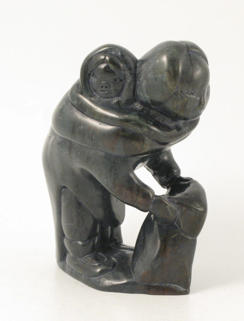 Mother and Child by Daniel Inukpuk. Original Inuit soapstone carving with igloo tag. One-of-a-kind