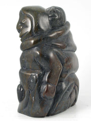 Mother and Children by Bobby Aupaluktuk. Original Inuit soapstone carving with igloo tag. One-of-a-kind