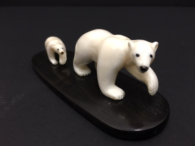 Mother and Cub - Northern Expressions | Tarsis Pillakasi - Carving | | Canadian Indigenous & Inuit Art