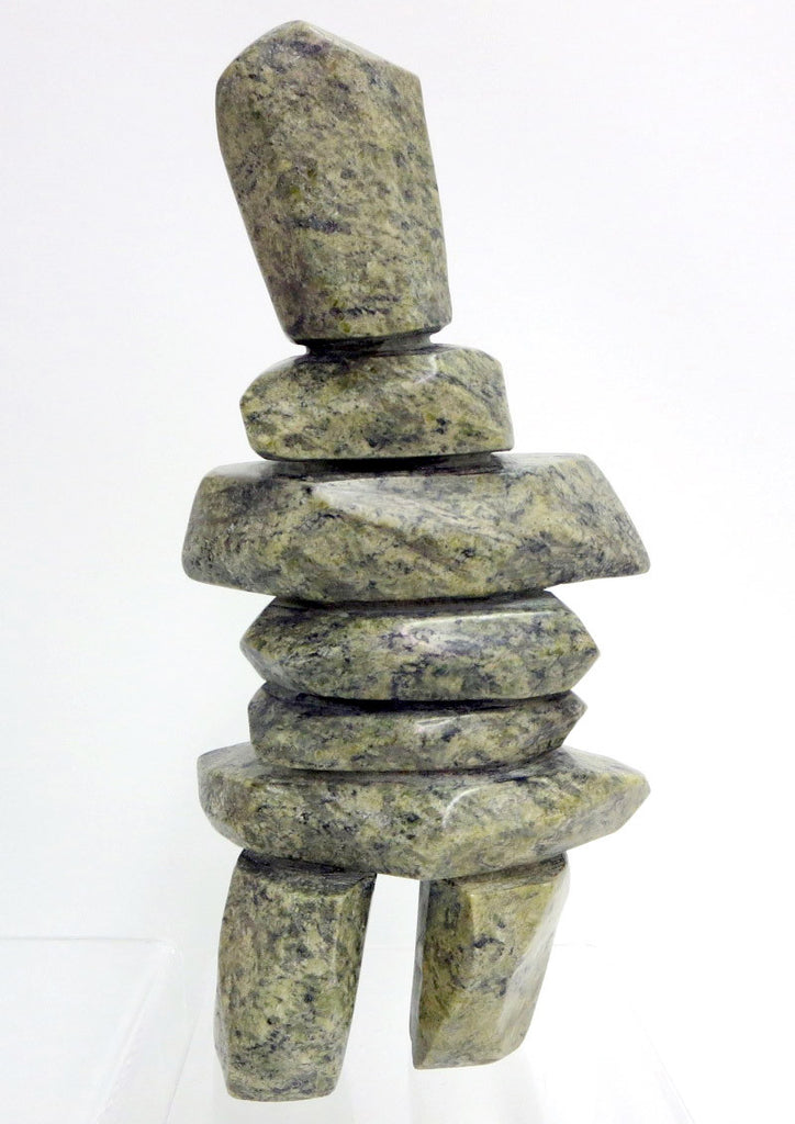 Inukshuk by Qavavau Shaa. Original Inuit soapstone carving with igloo tag
