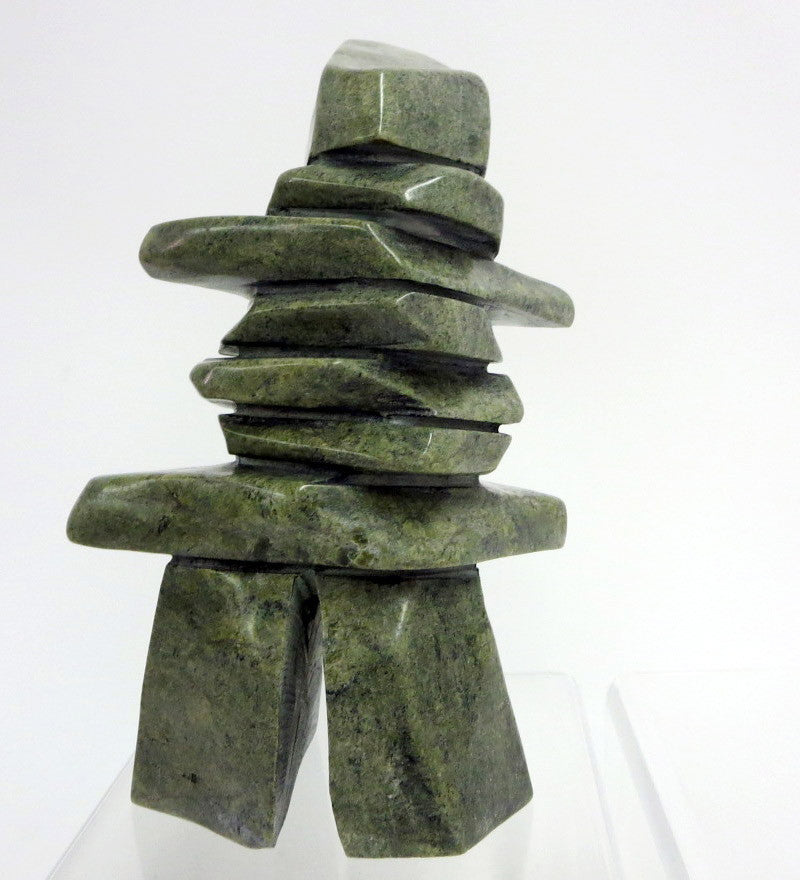Inukshuk by Maleeto Akesuk. Original Inuit soapstone carving with igloo tag