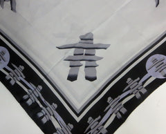 100% Inukshuk silk scarf. Inuit made in Canada