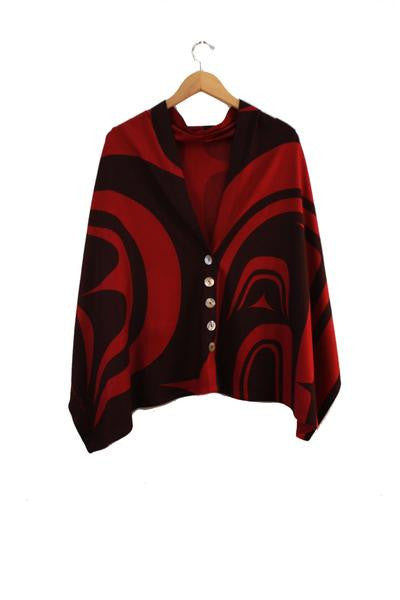 Modern Spirit Wrap - Northern Expressions | Chloë Angus Design - Fashion | Scarlet / Regular | Canadian Indigenous & Inuit Art