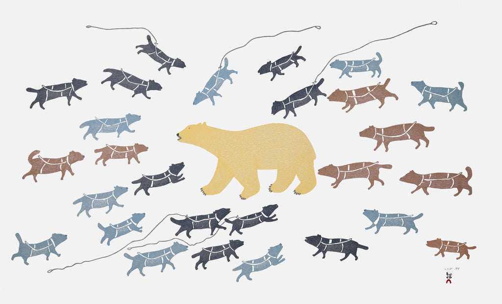 Polar Bear Camp by Papiara Tukiki. 2015 Cape Dorset Inuit Print