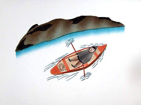 Island by Rowboat - Northern Expressions | Elisapee Ishulutaq - Print | | Canadian Indigenous & Inuit Art