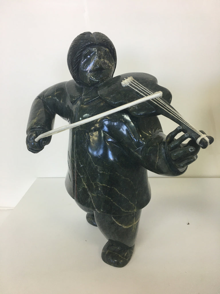 Fiddle Player - Northern Expressions | Matheussie Tunnillie - Carving | | Canadian Indigenous & Inuit Art