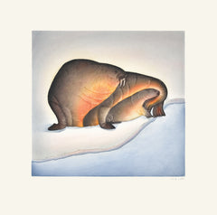 Sheltered Calf - Northern Expressions | PITSEOLAK NIVIAQSI - Print | | Canadian Indigenous & Inuit Art