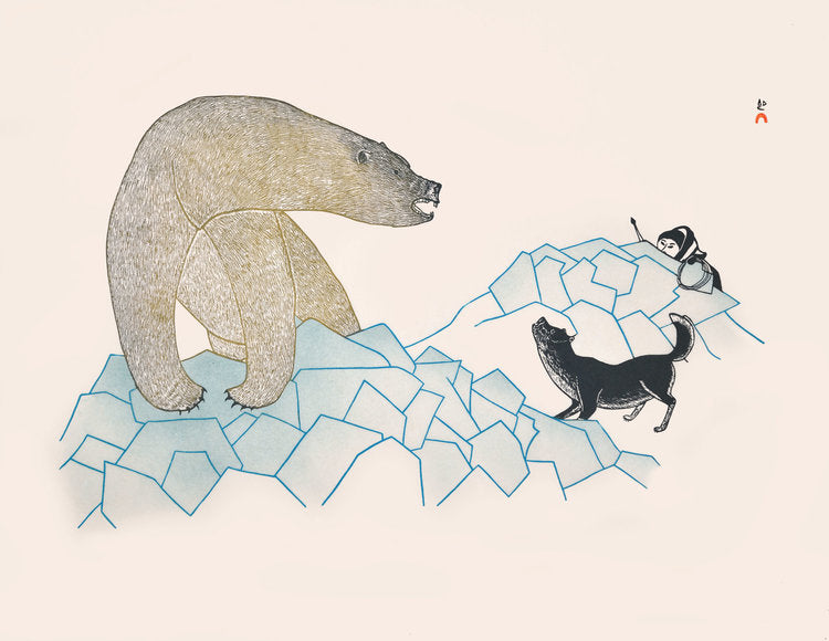Wary Hunter, 1988 - Northern Expressions | Kananginak Pootoogook - Print | | Canadian Indigenous & Inuit Art
