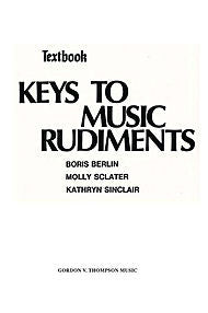 Keys to Music Rudiments - Textbook - Canada