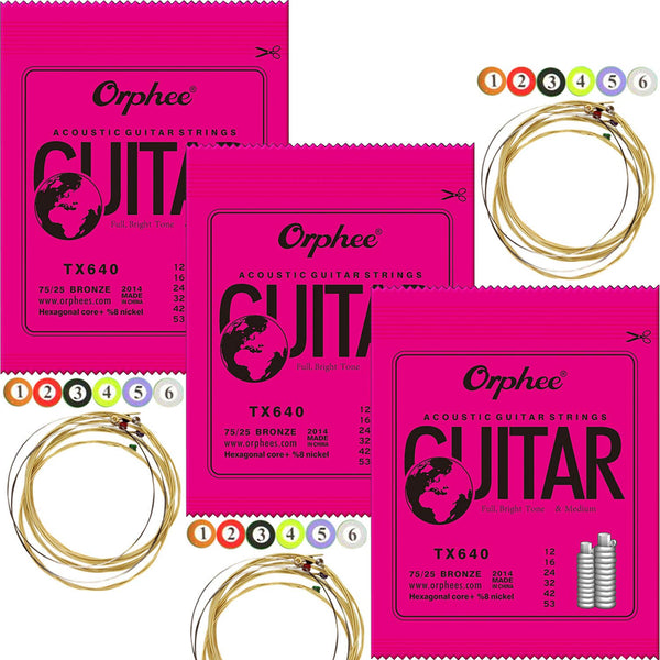 3 Packs Orphee Phosphor Bronze Acoustic Guitar Strings Light (012-053)