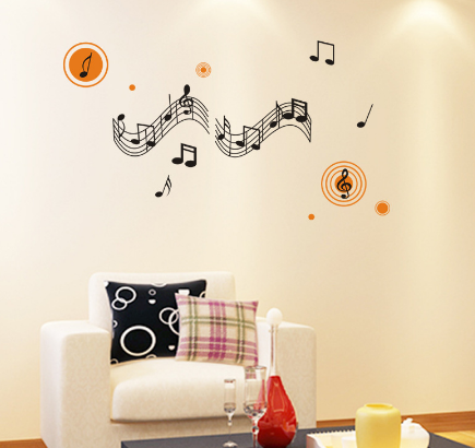 Music Score with Orange Accents Wall Sticker - Canada