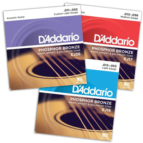 D'Addario EJ Phosphor Bronze Acoustic Guitar Strings (Custom Light, Light, Medium)