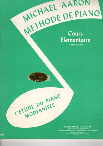 Michael Aaron Piano Course, Book 3  French Language Edition - Canada