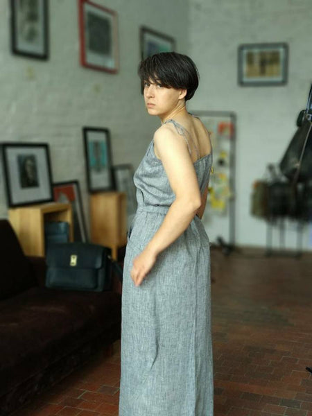 Maxi linen wrap dress in perfect grey