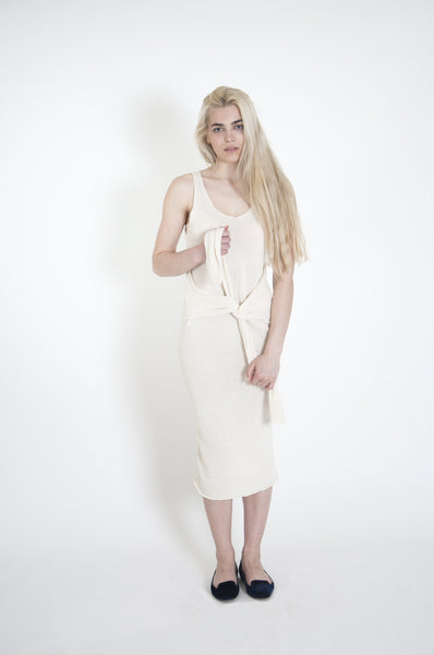 Sleeve Waist Tie Dress | Vanilla