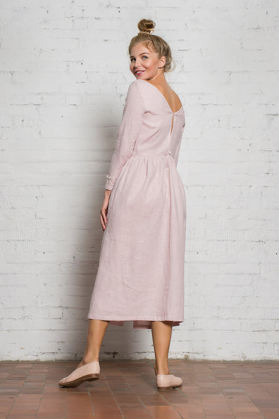 Venus Linen Dress | Dusty Pink