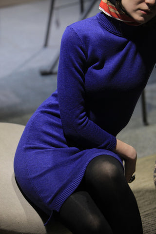 Turtleneck Cashmere Blue Dress