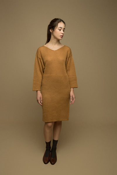 amber mustard dress mohair sweater natural wool sustainable slow fashion on
