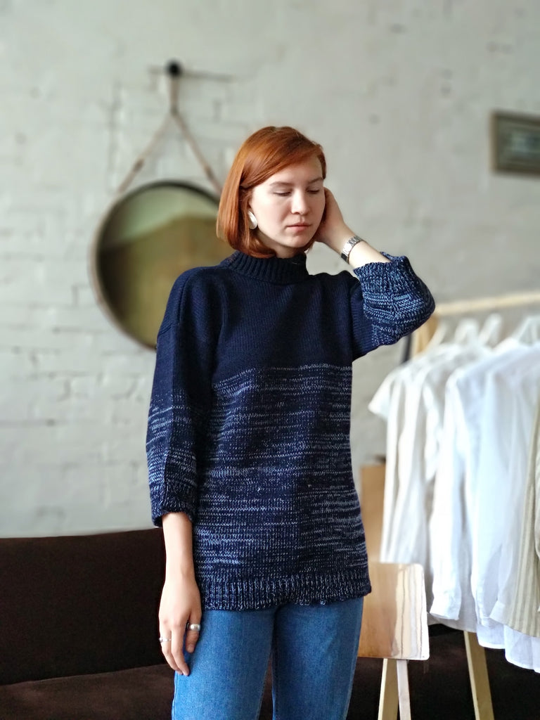 Oversized Chunky Wool Sweater | Navy