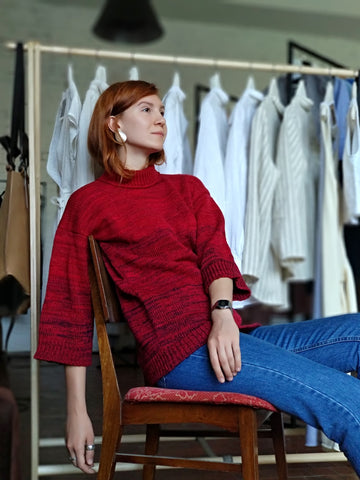 Oversized Chunky Wool Sweater | Red