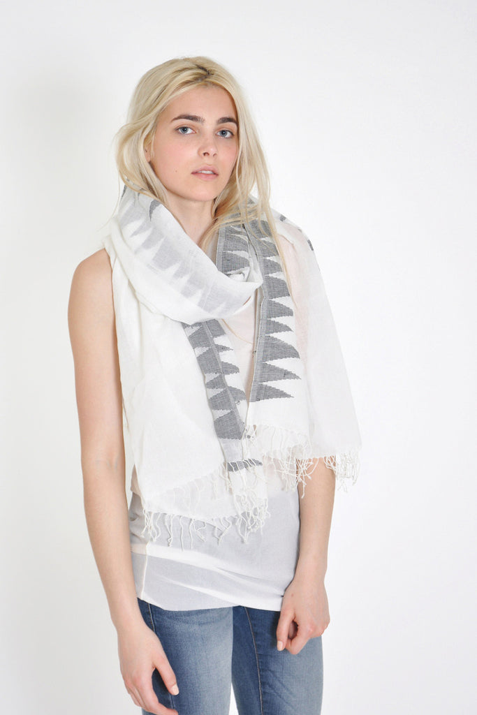 Hand loomed organic Khadi scarf with triangles