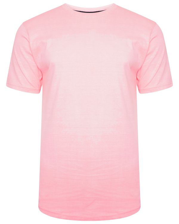 Curved Hem Neon T-Shirt Pink