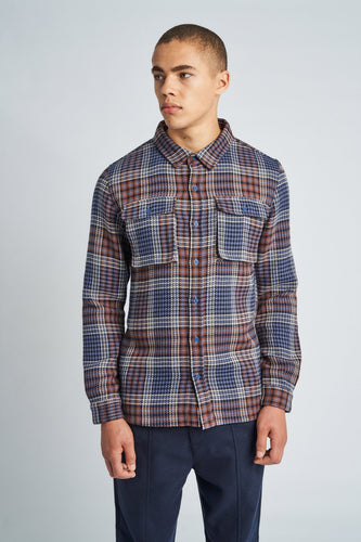 Check Overshirt Navy