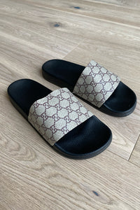 Footwear - Grey Slides Black