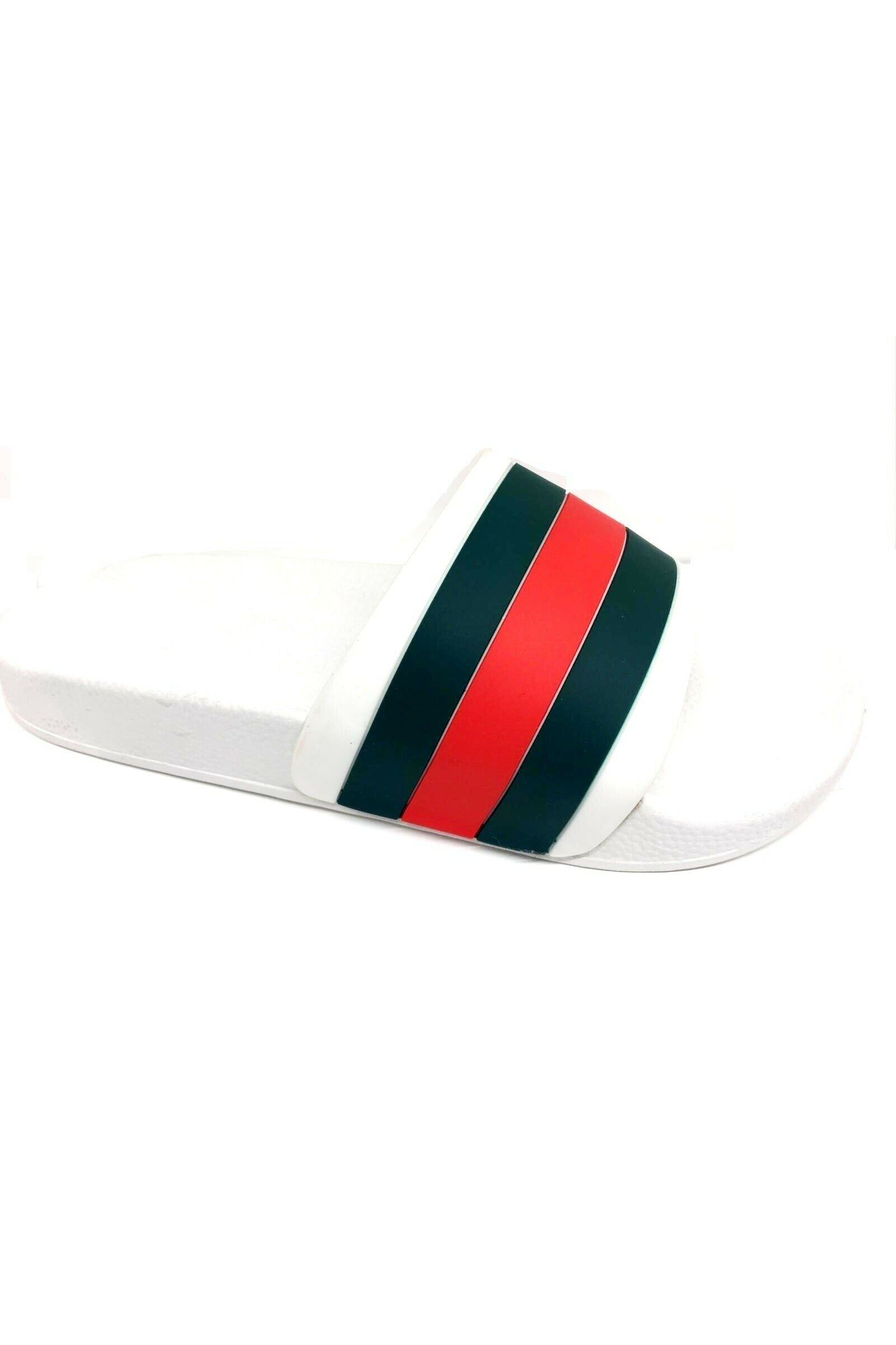 Footwear - Red Green Slides White