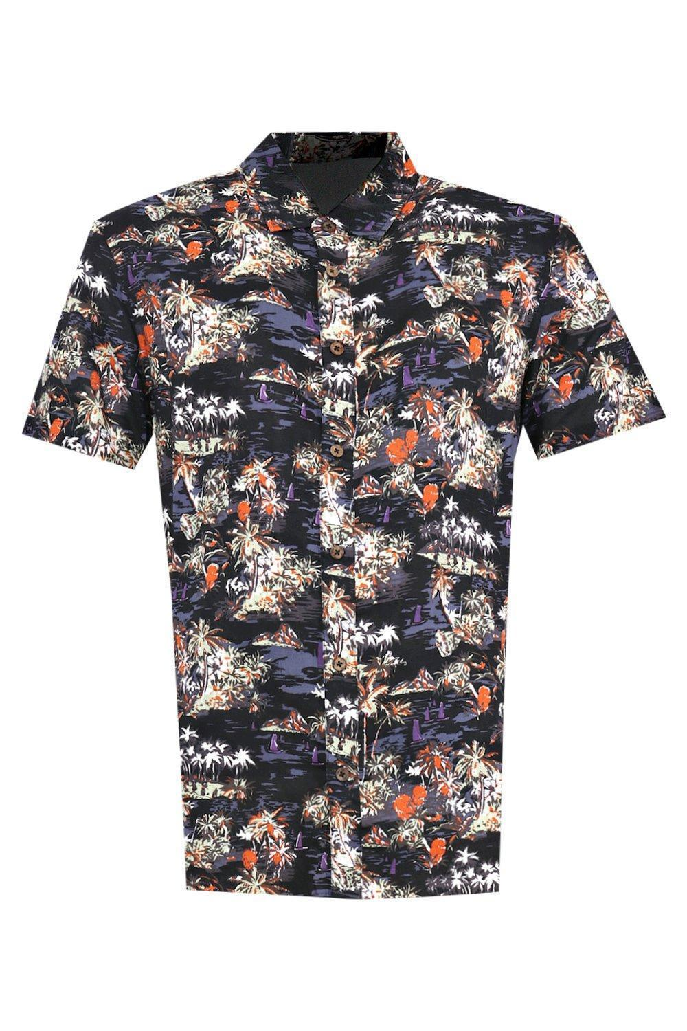Hawaiian Short Sleeve Shirt Dark