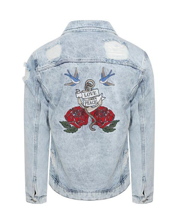 Jackets - Bleached Denim Jacket Roses
