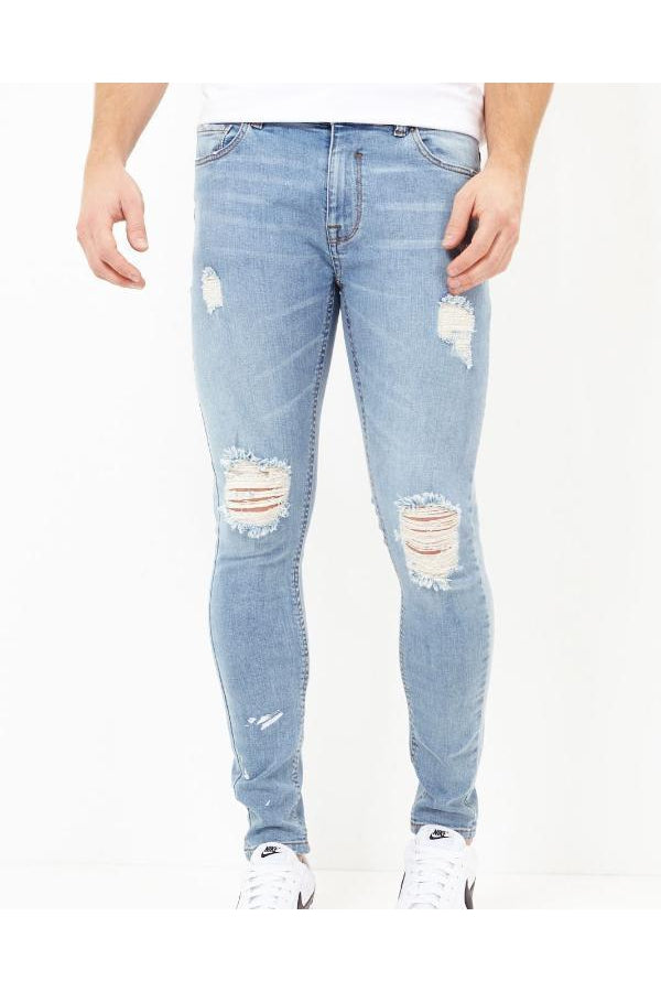 Jeans - Distressed Jeans Blue