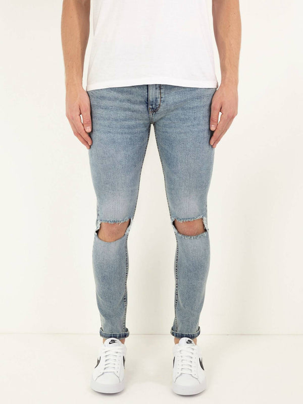 Jeans - Ripped Knee Jeans Washed Blue
